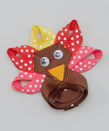 Brown & Red Polka Dot Turkey Clip