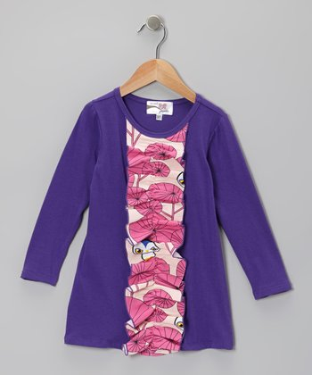 Purple Owl Ruffle Dress - Toddler & Girls