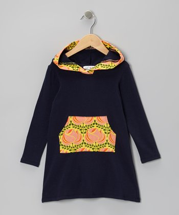 Navy Rose Jasmyn Hooded Dress - Toddler & Girls