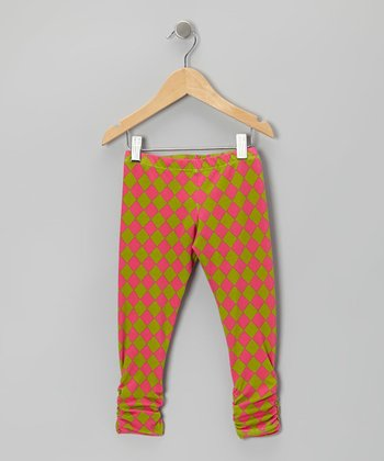 Pink & Green Diamond Bea Leggings - Infant, Toddler & Girls