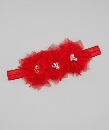 Red Bead Flower Headband