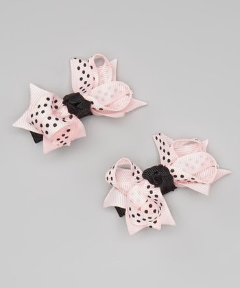 Light Pink & Black Polka Dot Bow Clip - Set of Two