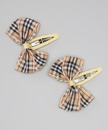 Tan & Black Plaid Bow Clip - Set of Two