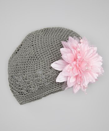 Gray & Pink Crocheted Beanie & Pearl Flower Clip