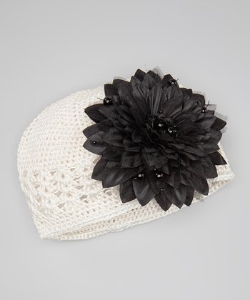 Cream & Black Crocheted Beanie & Pearl Flower Clip