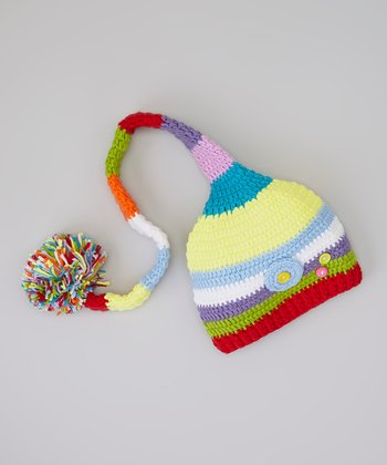 Rainbow Stripe Flower Button Pom-Pom Beanie