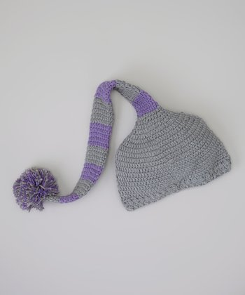 Gray & Purple Stripe Pom-Pom Beanie