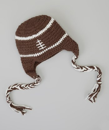 Brown & White Football Earflap Beanie