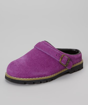 Purple Faux Suede Buckle Clog - Kids
