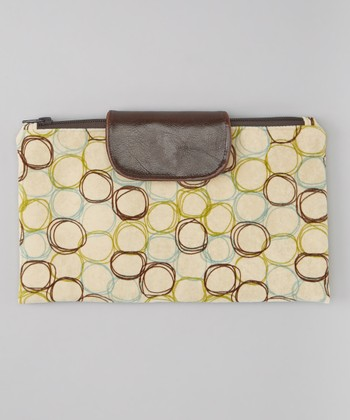 Brown Retro Circles Diaper Clutch