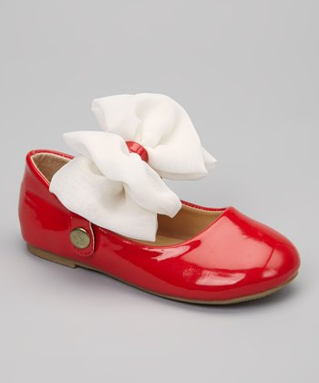QQ Girl Red & White Patent Bow Mary Jane