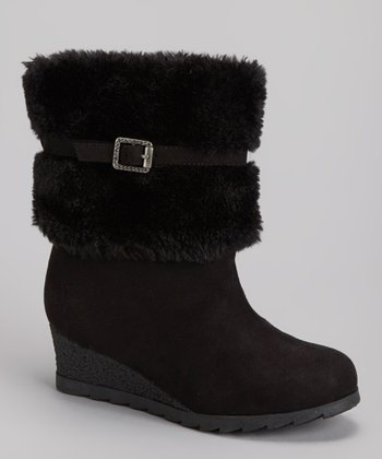 Black Faux Fur Wedge Boot