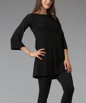 Black Three-Quarter Sleeve Tunic
