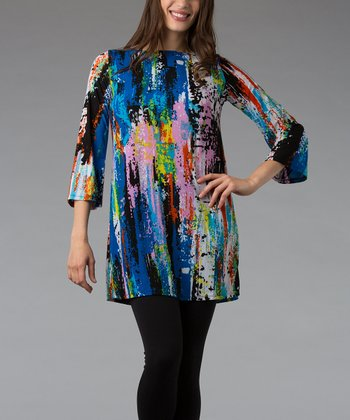 Blue & Pink Paint Splatter Three-Quarter Sleeve Tunic