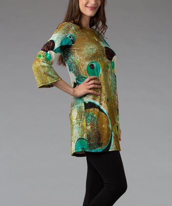 Brown & Teal Abstract Three-Quarter Sleeve Tunic