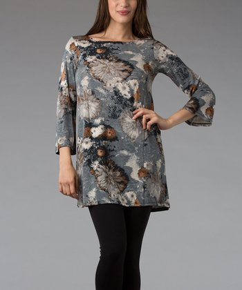 Gray Floral Three-Quarter Sleeve Tunic