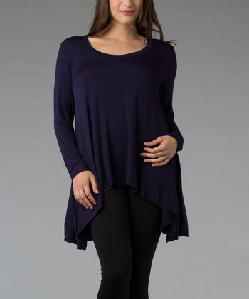 Eggplant Scoop Neck Hi-Low Top