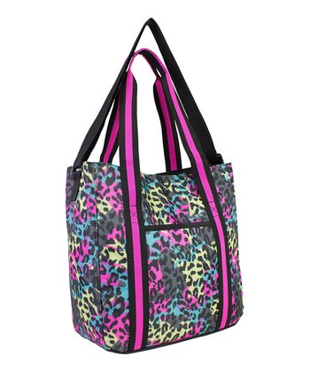 Black & Teal Neon Cheetah Tote