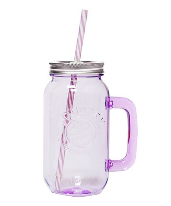 Lilac 16-Oz. Drinking Jar & Reusable Straw