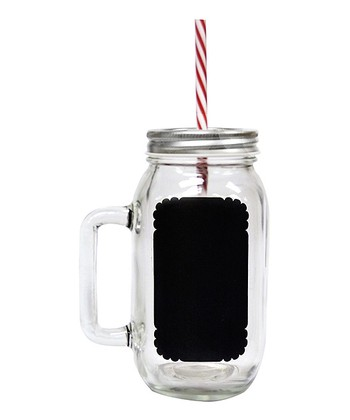 Chalkboard 24-Oz. Drinking Jar & Reusable Straw