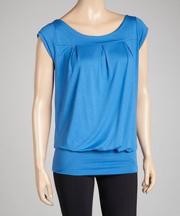 Blue Cap-Sleeve Top