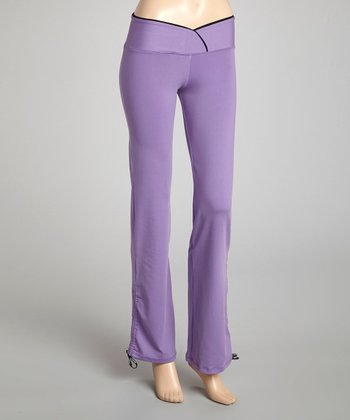 Purple & Black Ruched Flare Yoga Pants