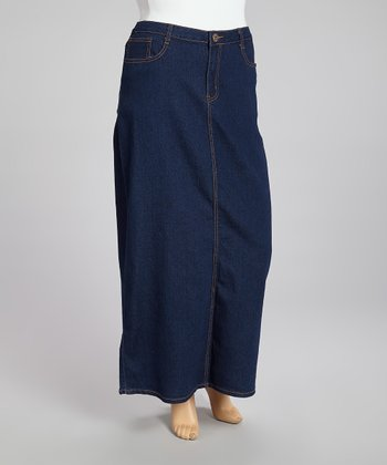 Indigo Denim Maxi Skirt - Plus