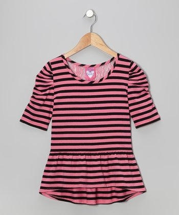 Pink Stripe Lace-Back Peplum Top