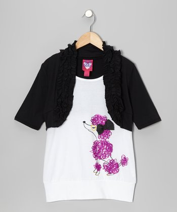 Black & White Poodle Faux Bolero Layered Tank