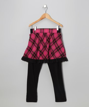 Pink Plaid Skirted Leggings