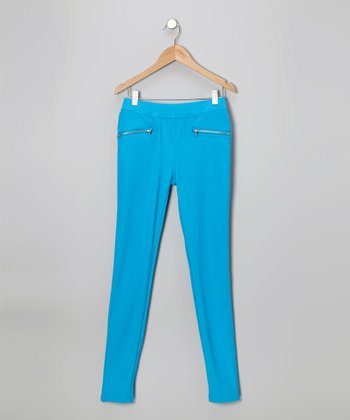 Blue Pocket Skinny Pants