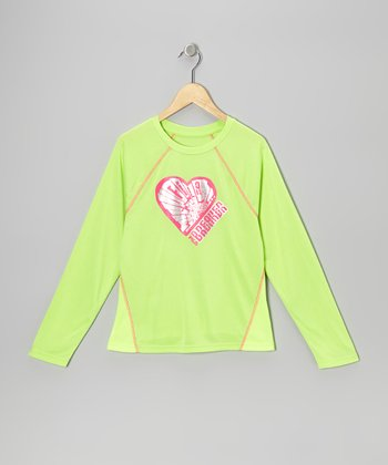 Chartreuse 'Heart Breaker' Foil Tee - Girls