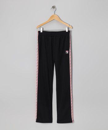 Black Mesh Track Pants - Girls