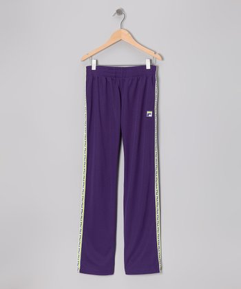 Purple Mesh Track Pants - Girls