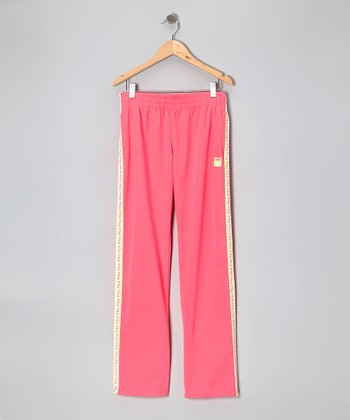 Pink Mesh Track Pants - Girls