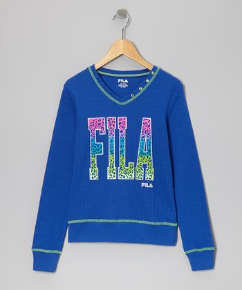 Blue 'Fila' V-Neck Thermal - Girls