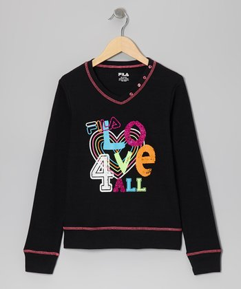 Black 'Love' V-Neck Thermal - Girls