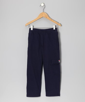 Navy Fleece Cargo Pants - Kids