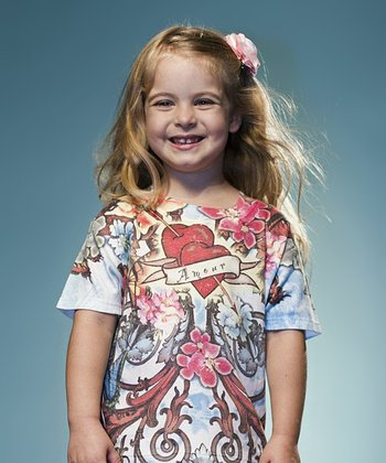 White 'Amour' Scroll Tee - Toddler & Girls