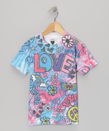 Pink Pastel 'Love' Tee - Toddler & Girls