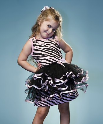 Pink Zebra Dress & Black Tutu - Toddler & Girls