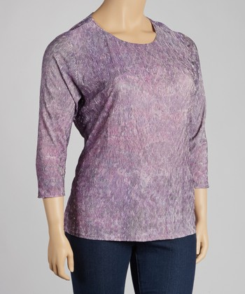 Purple Crinkle Three-Quarter-Sleeve Top - Plus