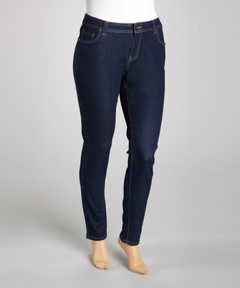 Dark Blue Five-Pocket Skinny Jeans - Plus