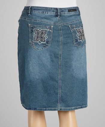 Medium Blue Embroidered Straight Skirt - Plus