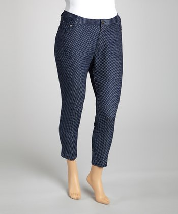 Navy Polka Dot Skinny Cropped Jeans - Plus