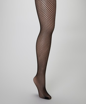 Black Dotted Fishnet Tights