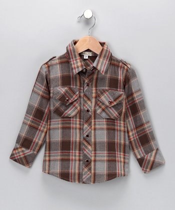 Gray & Brown Plaid Button-Up Shirt - Toddler & Boys