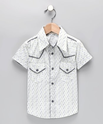 Lime & Gray Button-Up Shirt - Toddler & Boys