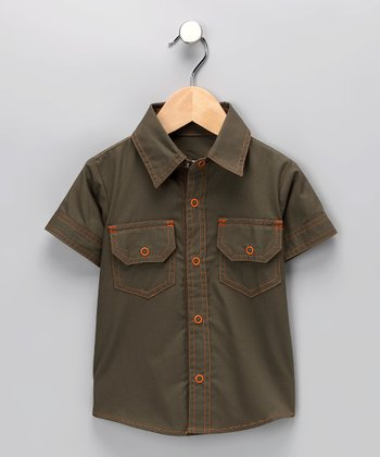 Olive Button-Up Shirt - Infant, Toddler & Boys
