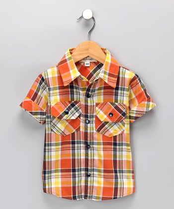 Orange Plaid Button-Up Shirt - Infant, Toddler & Boys